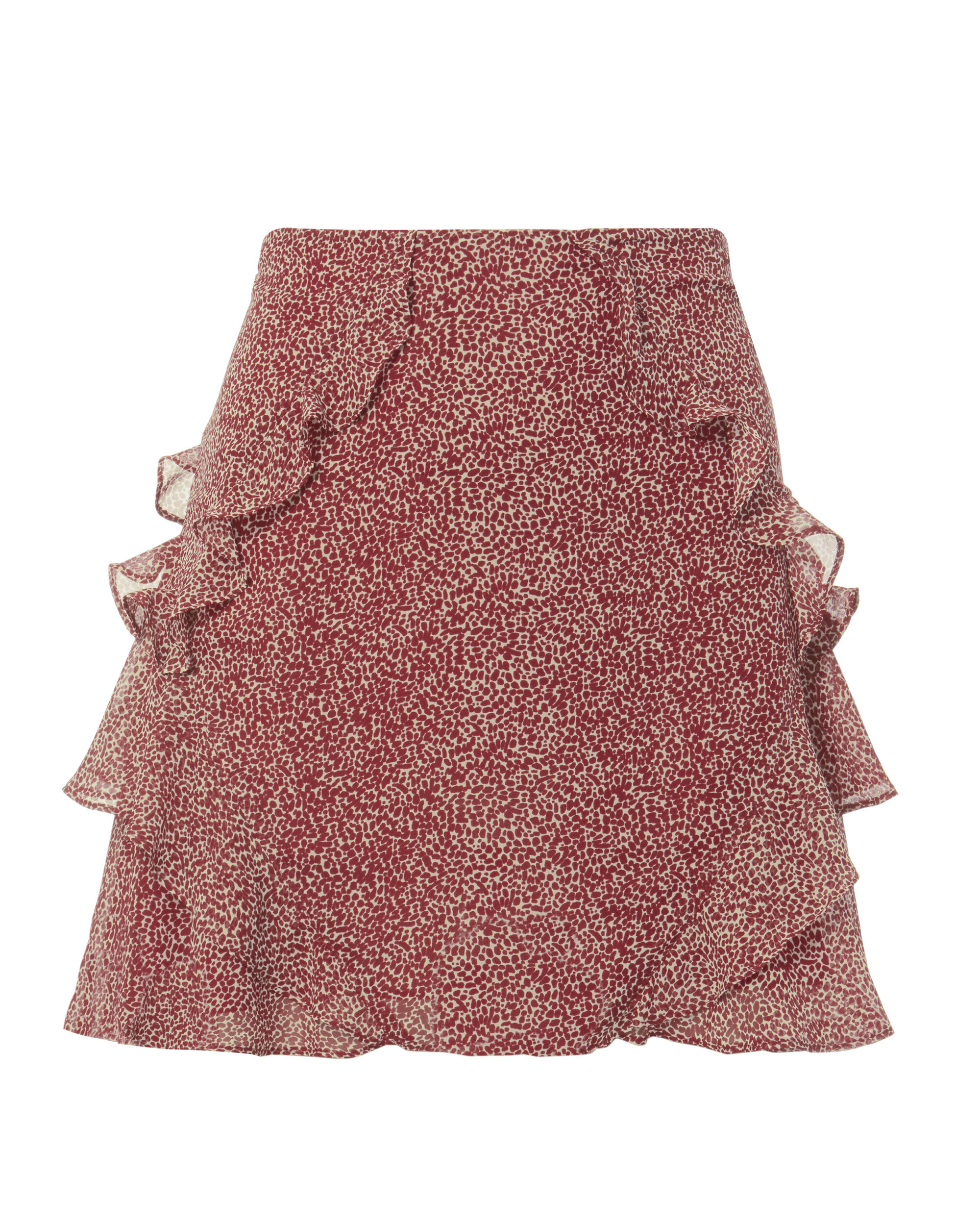Red Dot Ruffle Mini Skirt, PRINT, hi-res