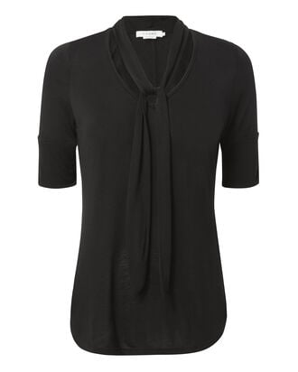 Tie Neck Black Short-Sleeved Top, BLACK, hi-res