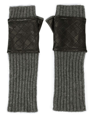 Leather-Quilted Fingerless Knit Gloves, GREY, hi-res
