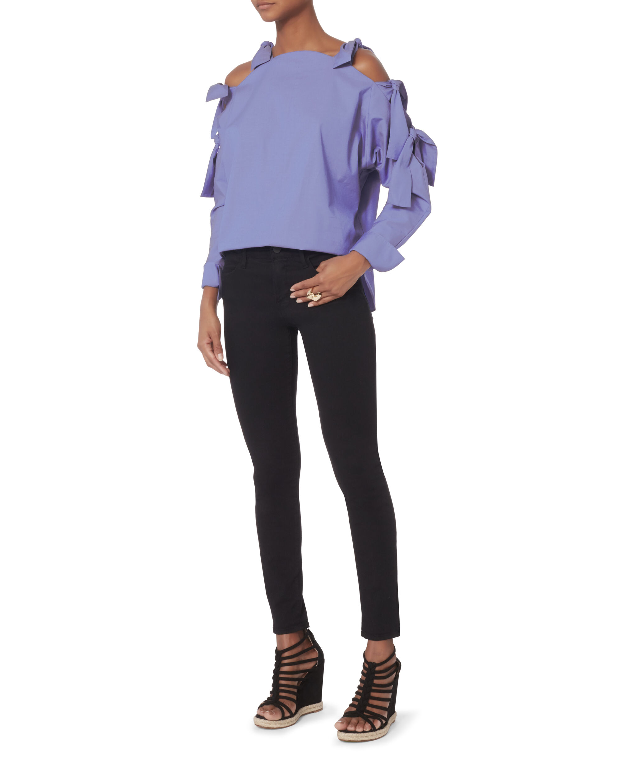 Cass Tie Shoulder Top, BLUE, hi-res