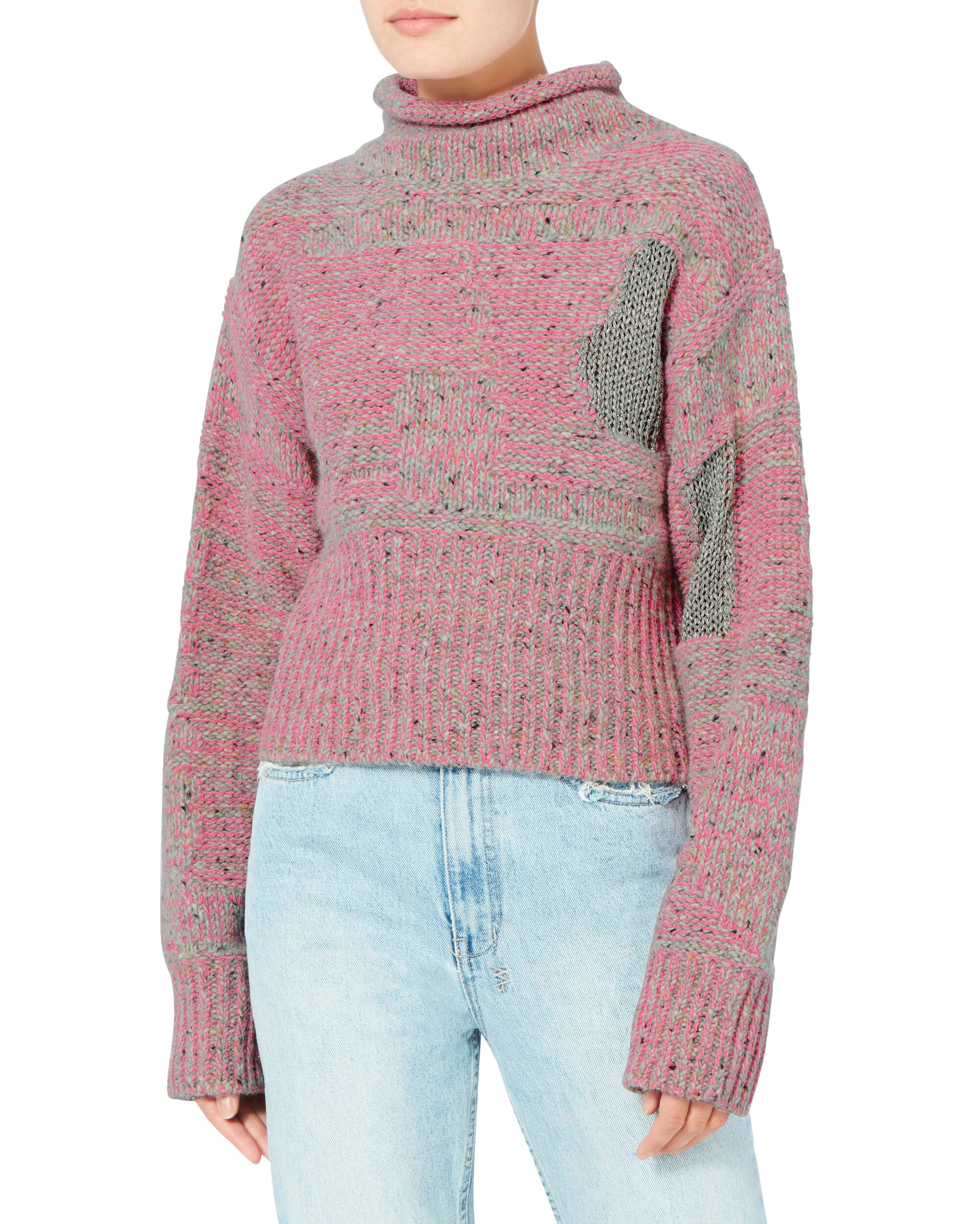 Plaited Tweed Cropped Pullover Sweater, PINK, hi-res