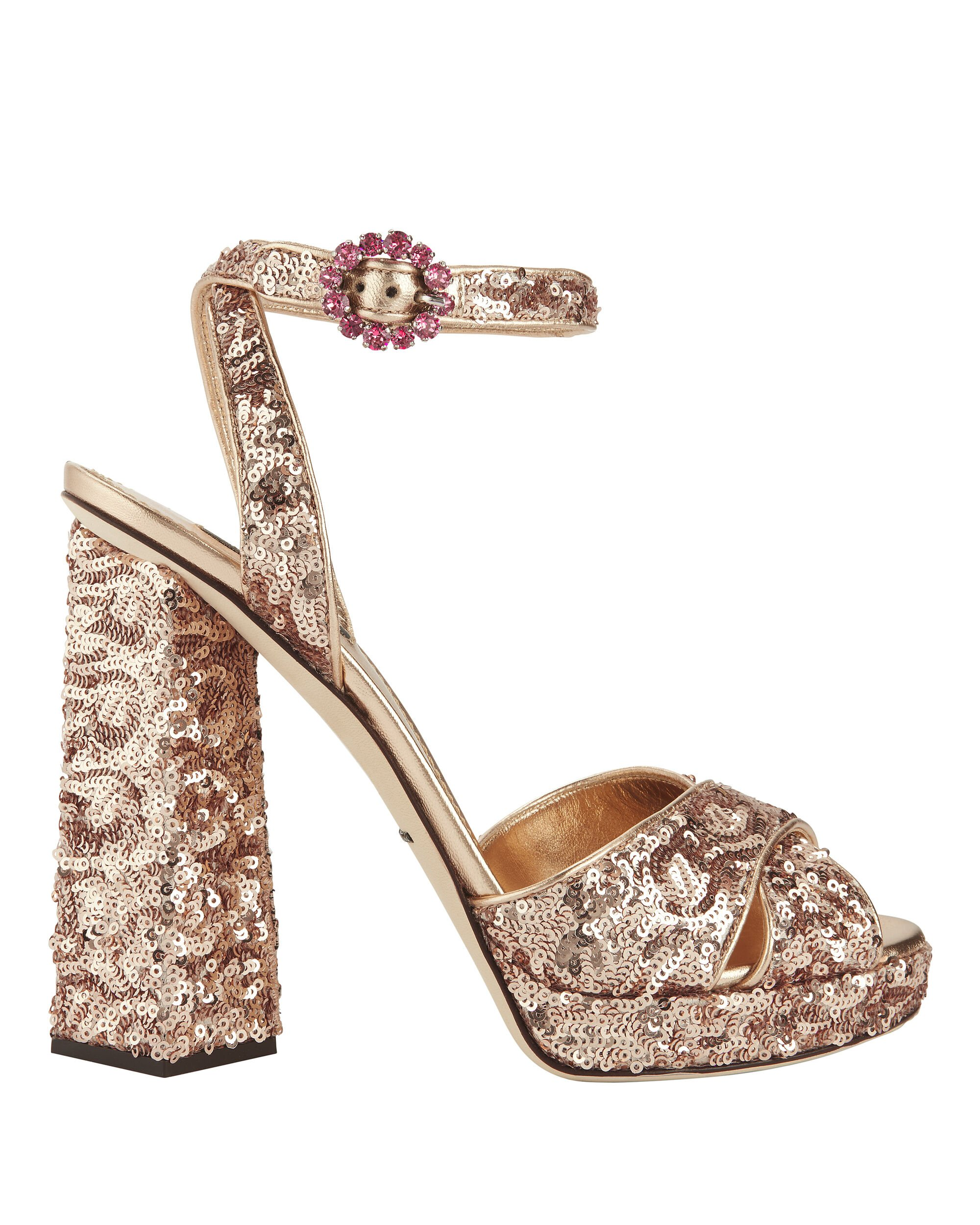 Rose Gold Sequin Sandals, PINK, hi-res