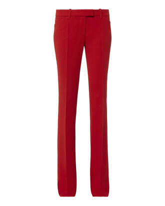 Mid-Rise Red Flare Pants, , hi-res