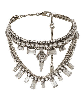Layered Crystal Bib Necklace, METALLIC, hi-res