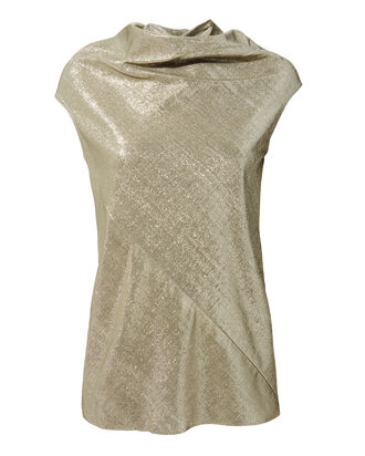 Lamé Mock Neck Top, METALLIC, hi-res