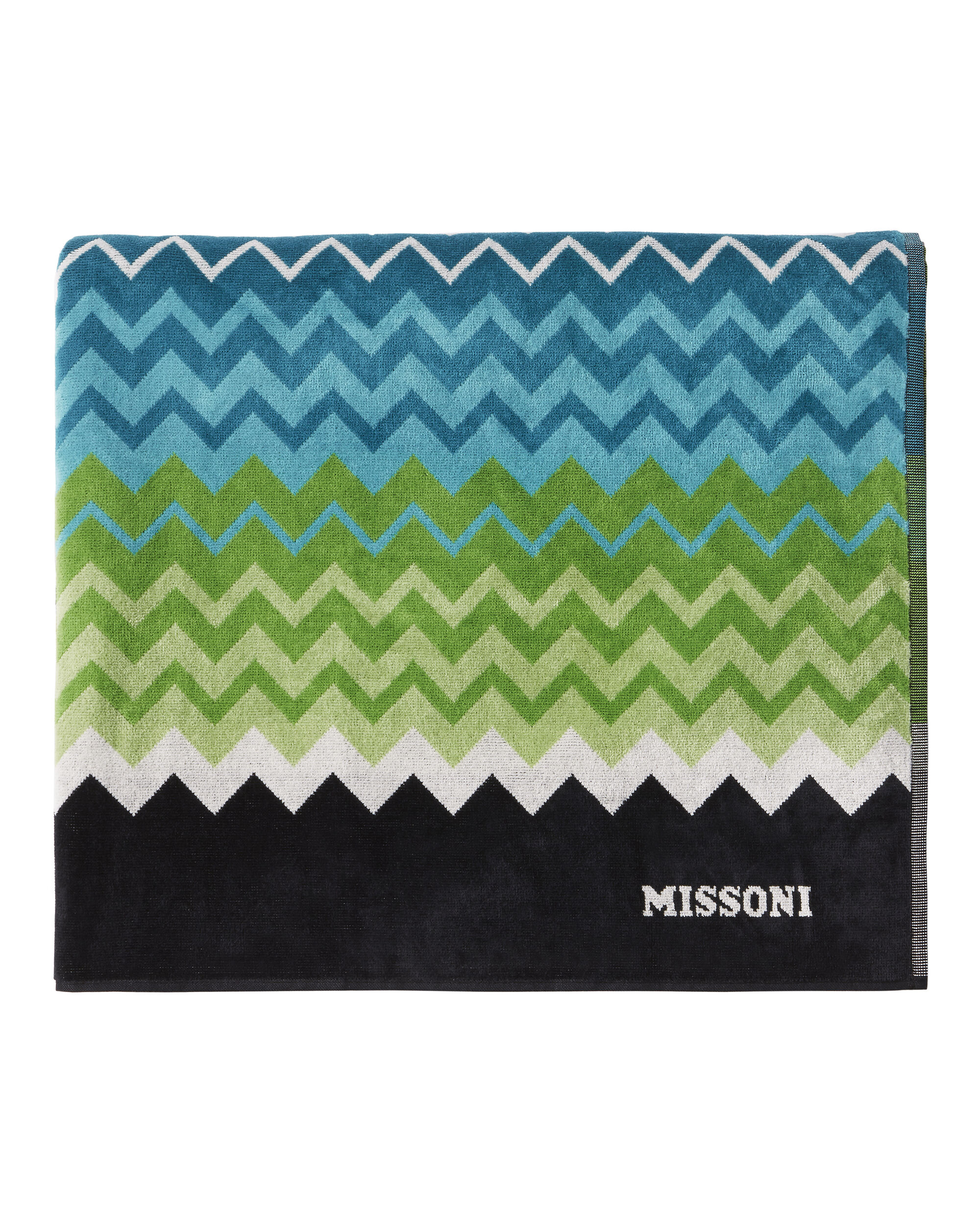 Cool Tone Zig Zag Beach Towel, BLUE, hi-res