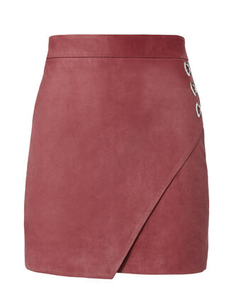 Rose Suede Wrap Front Mini Skirt, METALLIC, hi-res