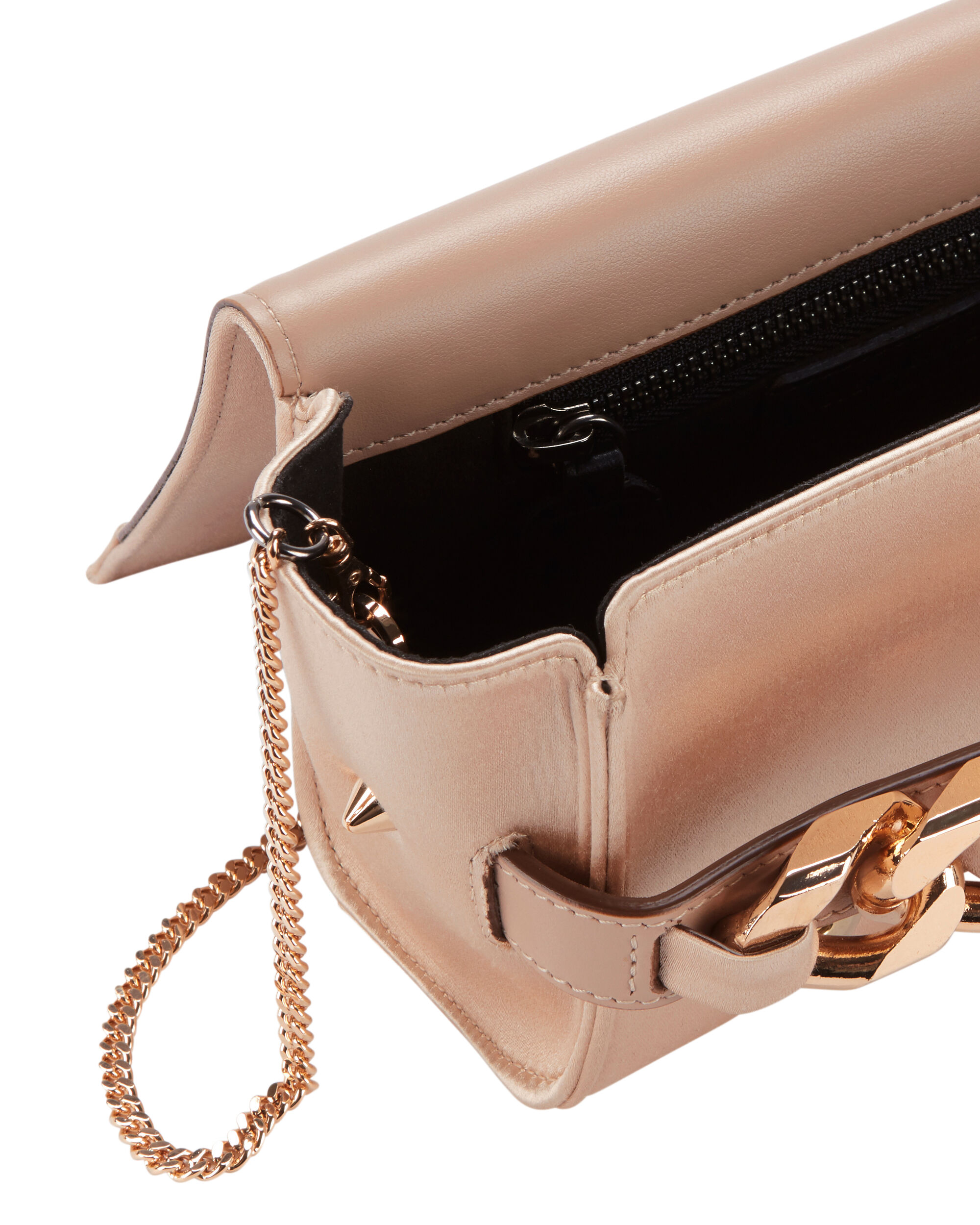 Satin Rose Gold Chain Clutch Bag, NUDE, hi-res