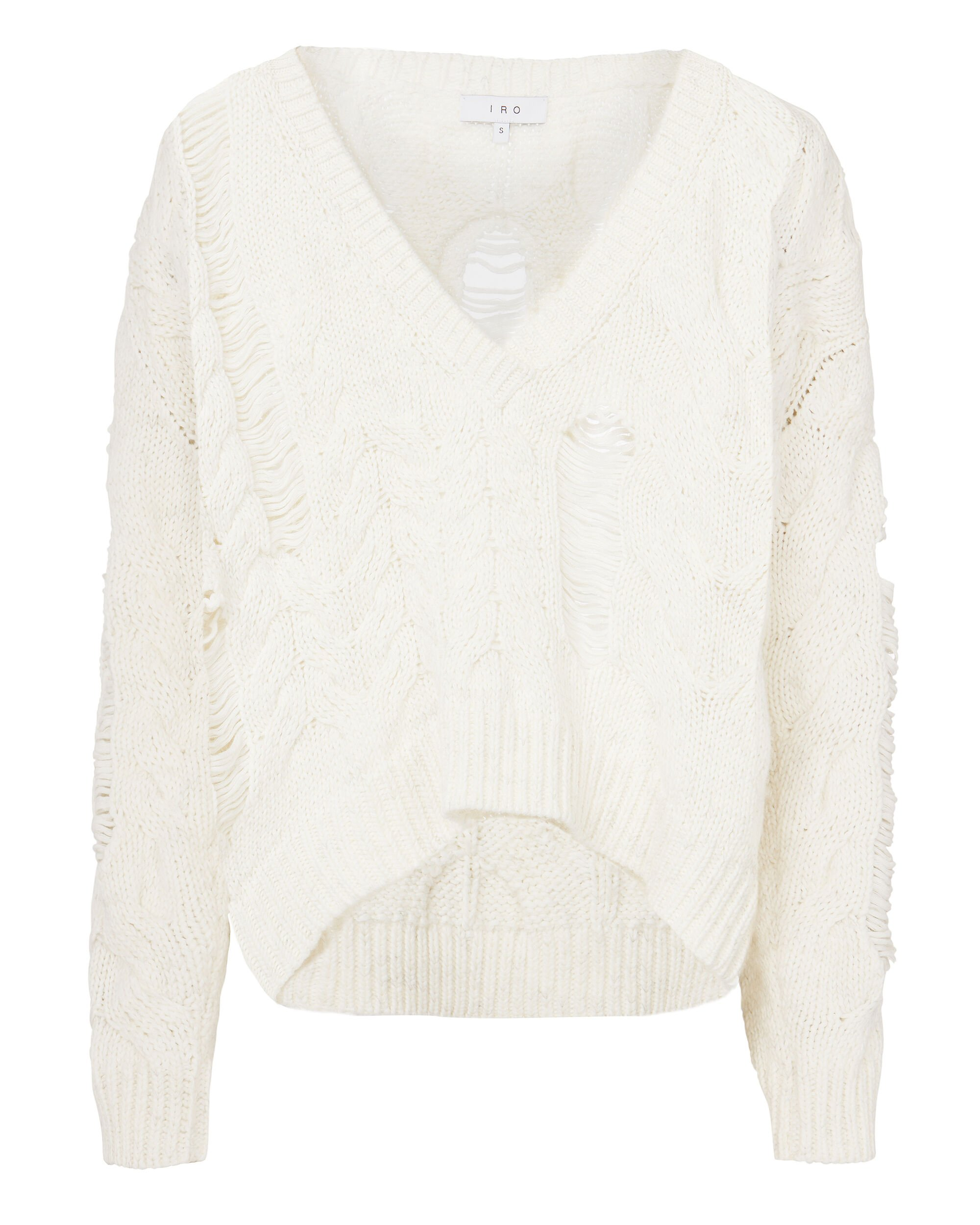 Shredded Cable Knit Sweater, IVORY, hi-res