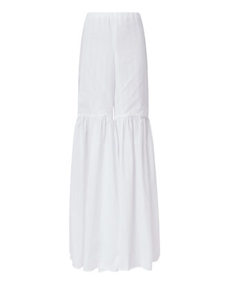 Bell Flare White Cotton Pants, WHITE, hi-res