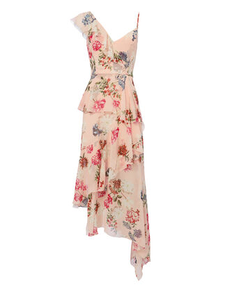 Strappy Ruffle-Trimmed Floral Dress, MULTI, hi-res
