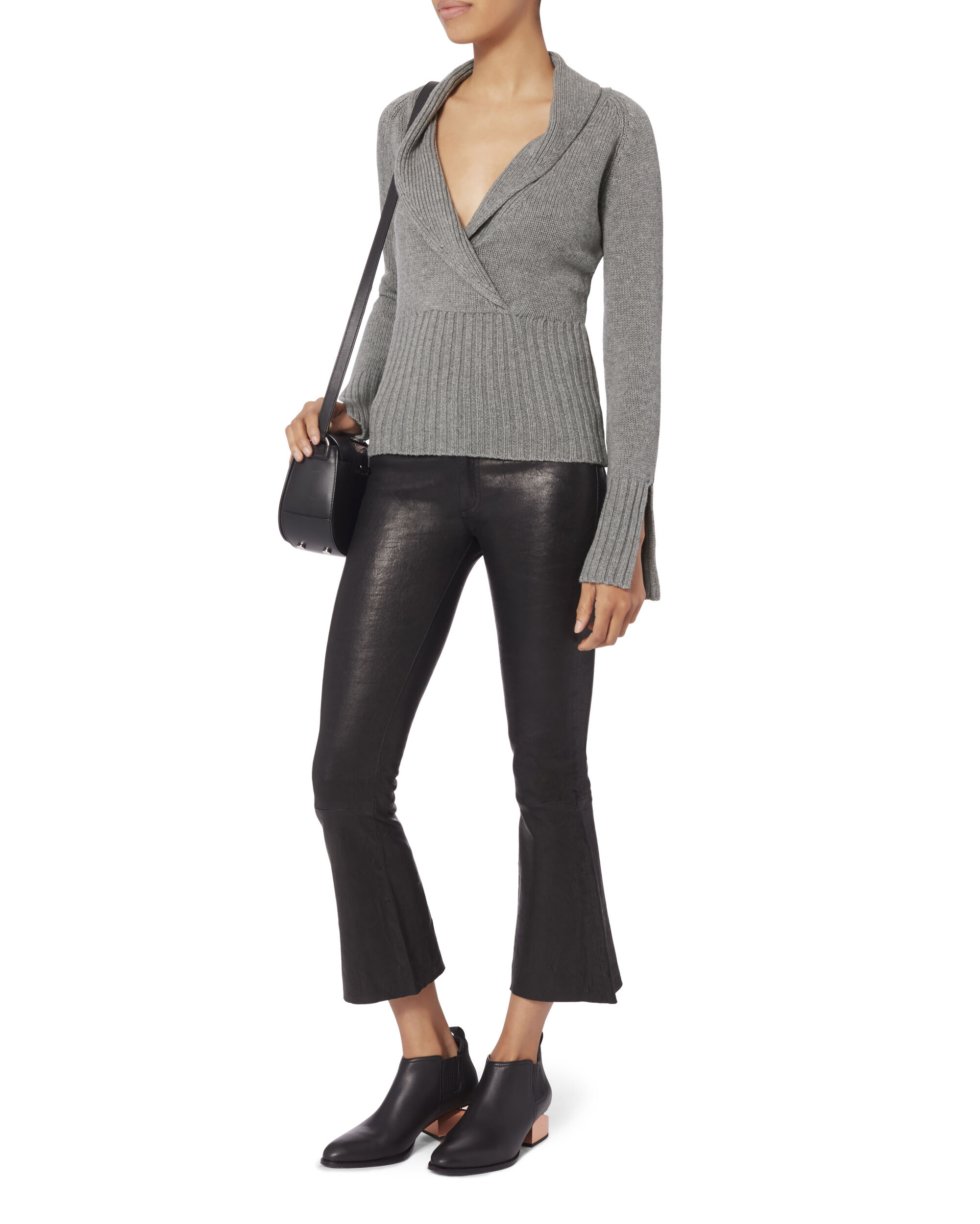 Amy Shawl Collar Sweater, GREY, hi-res