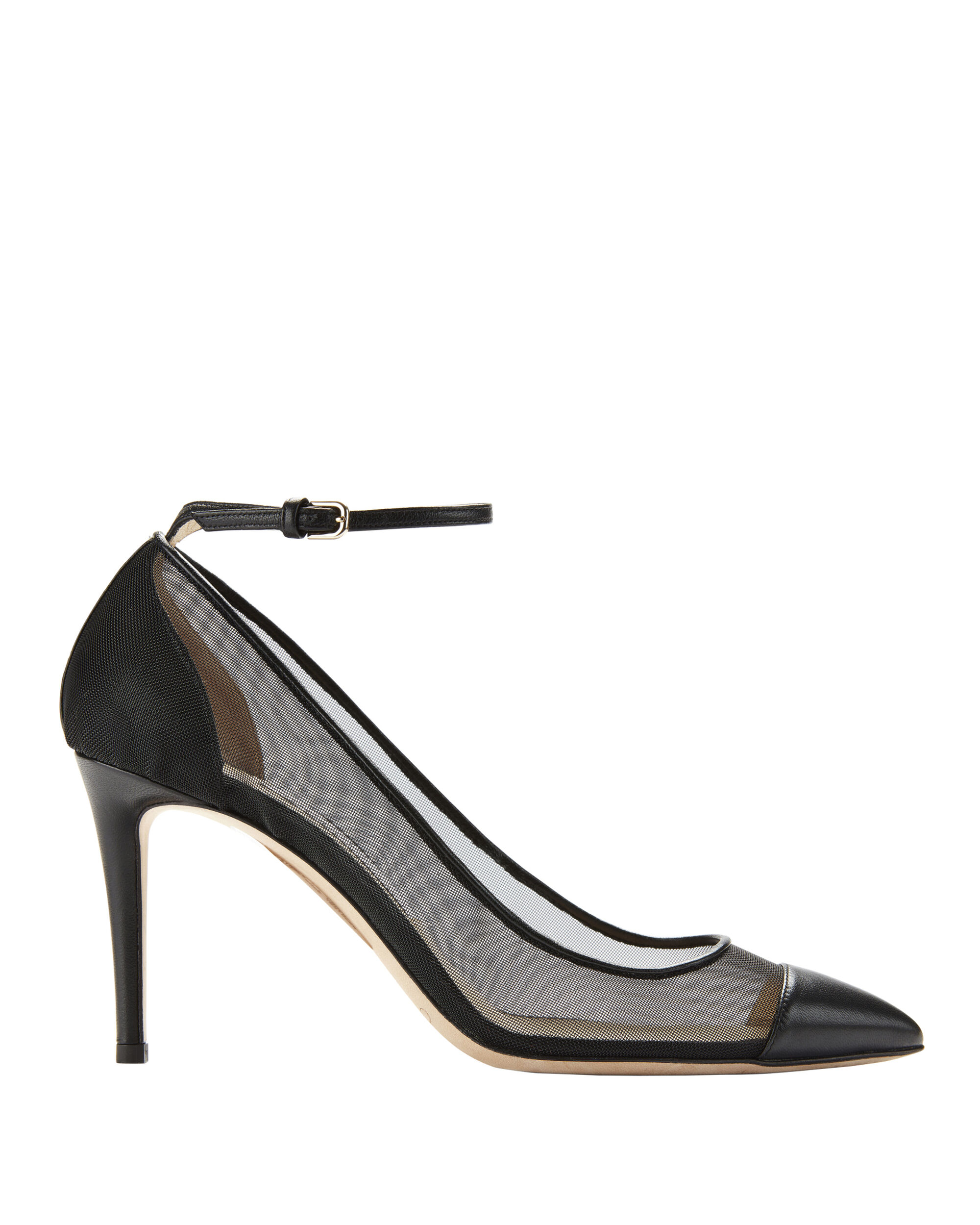 Tower Ankle Strap Pumps, BLACK, hi-res