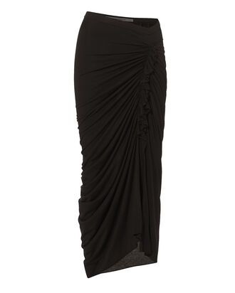 Ruched Ruffled Midi Skirt, BLACK, hi-res