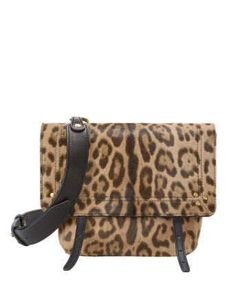 Jeremie Leopard Haircalf Shoulder Bag, PRINT, hi-res