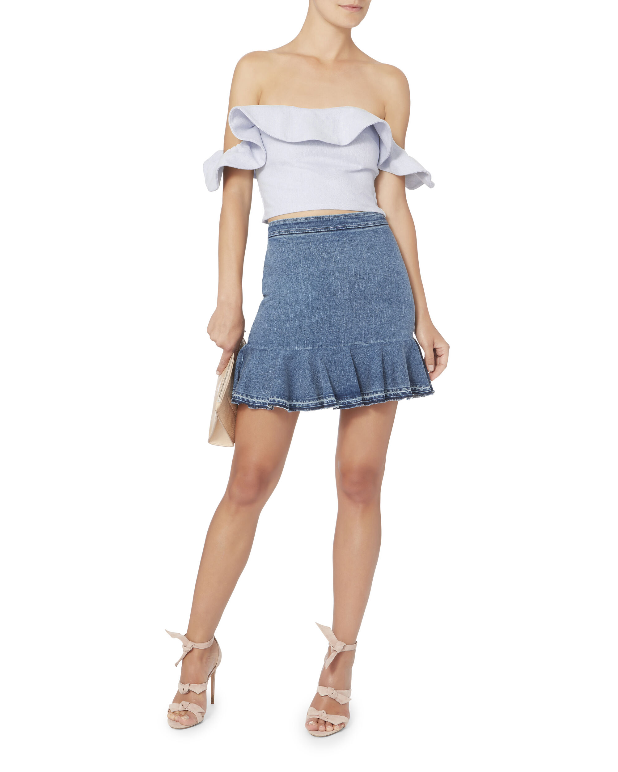Florian Off Shoulder Smocked Top, DENIM, hi-res
