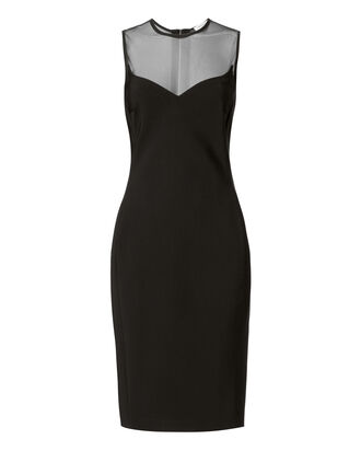 Mesh Bodycon Midi Dress, BLACK, hi-res