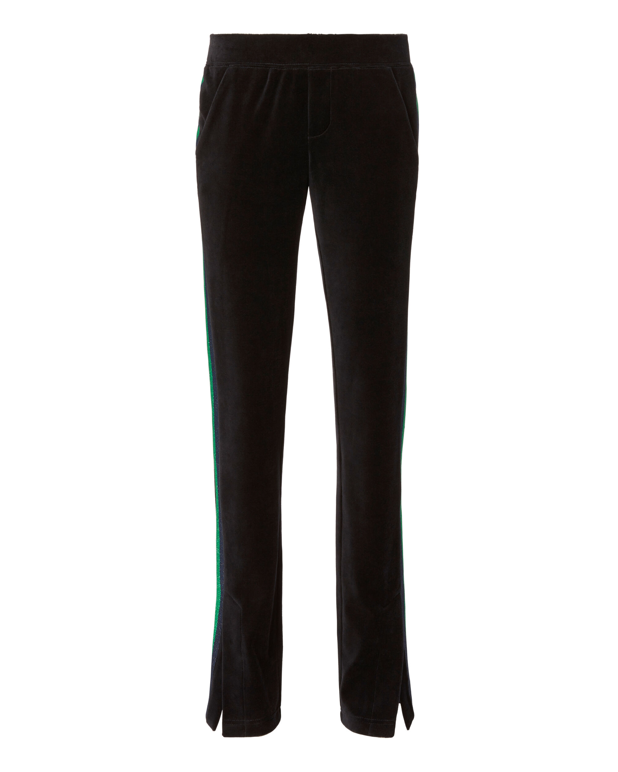 Striped Velvet Track Pants, BLACK, hi-res