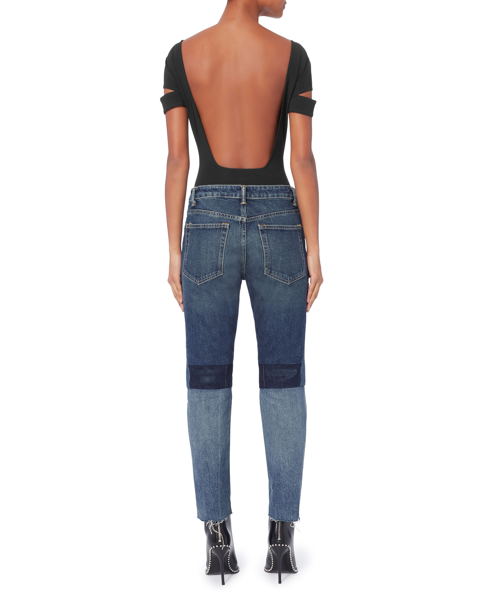 Patchwork High-Rise Crop Jeans, BLUE, hi-res