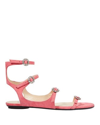 Naia Crystal Buckle Suede Sandals, PINK, hi-res