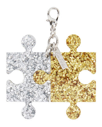 Gold And Silver Confetti Puzzle Charm, COLORBLOCK, hi-res