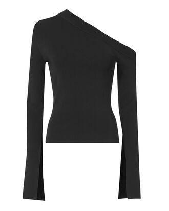 Mariette One Shoulder Knit Top, BLACK, hi-res