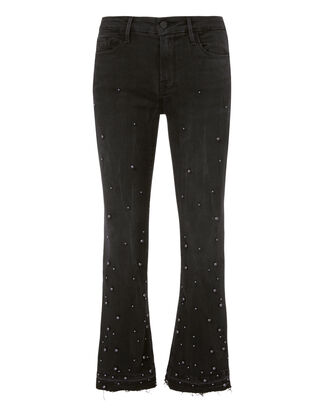 Pearl-Studded Cropped Jeans, BLACK, hi-res