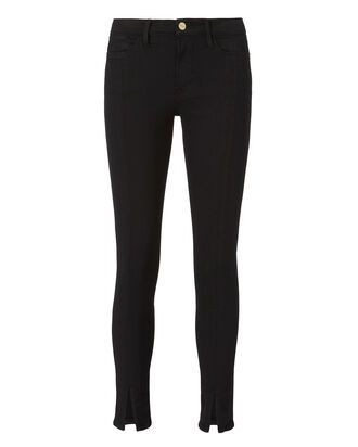 Le High Slit Front Noir Jeans, BLACK, hi-res