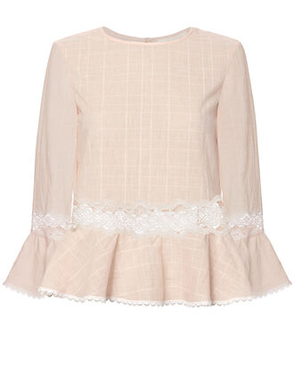 Voile Ruffle Top, PINK-LT 2, hi-res