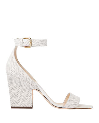 Edina Knit White Sandals, WHITE, hi-res