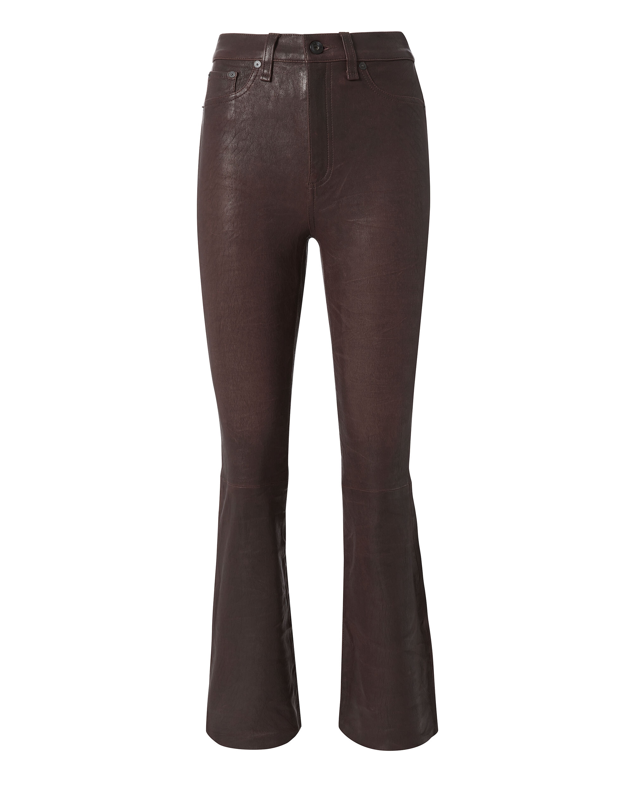 Red Crop Flare Leather Pants, RED, hi-res