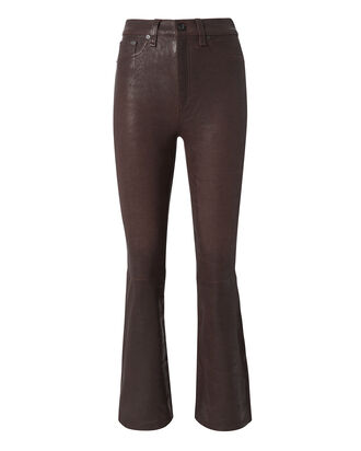 Red Crop Flare Leather Pants, RED-DRK, hi-res