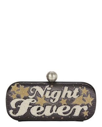 Night Fever Metallic Clutch, BLACK, hi-res