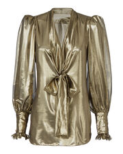 Gold Japonette Tie Neck Blouse, METALLIC, hi-res