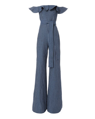 Edria Striped Denim Jumpsuit, DENIM, hi-res
