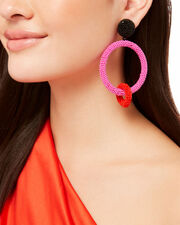 Two-Tone Beaded Double Hoops, PINK, hi-res
