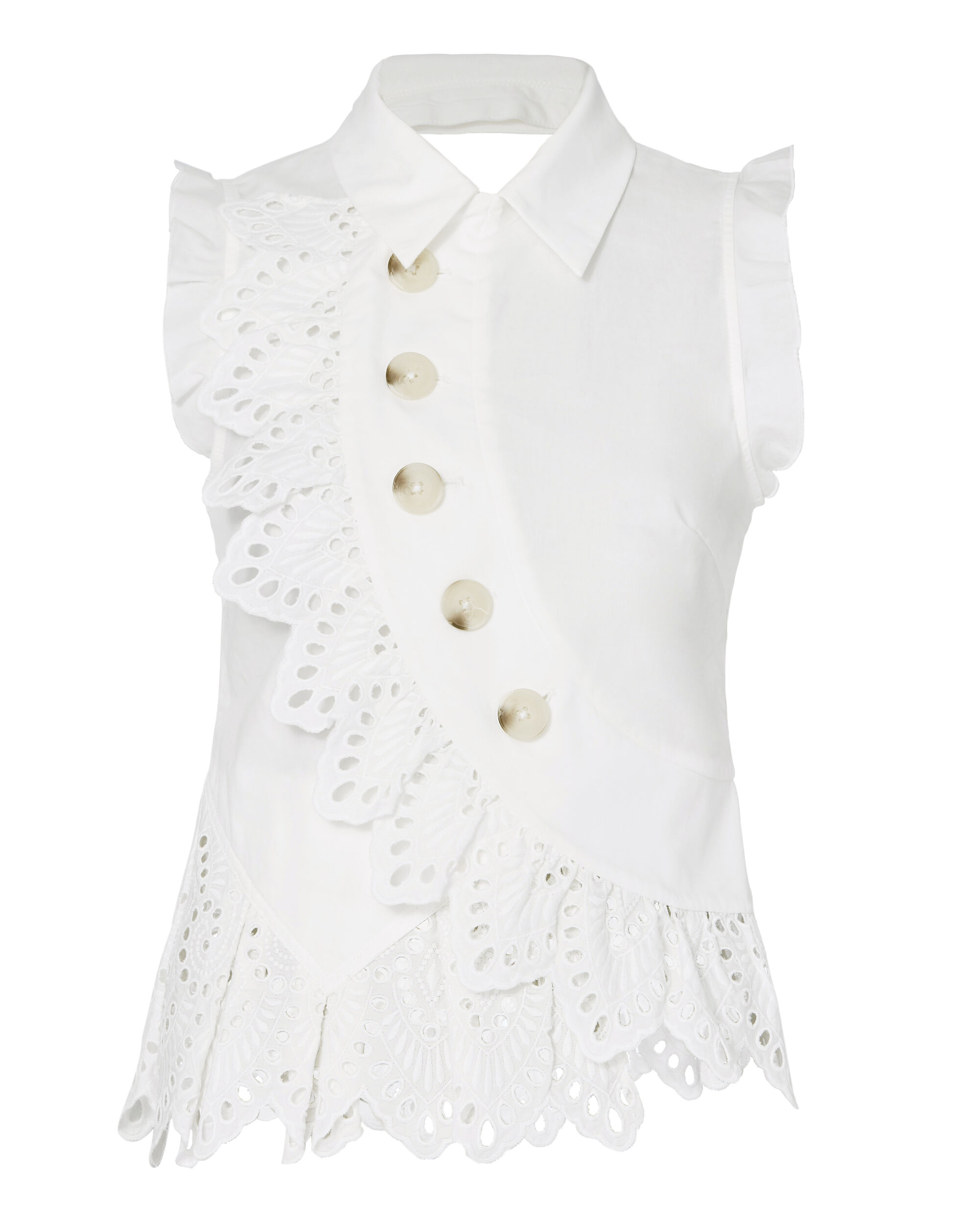 Broderie Button Detail Top, WHITE, hi-res