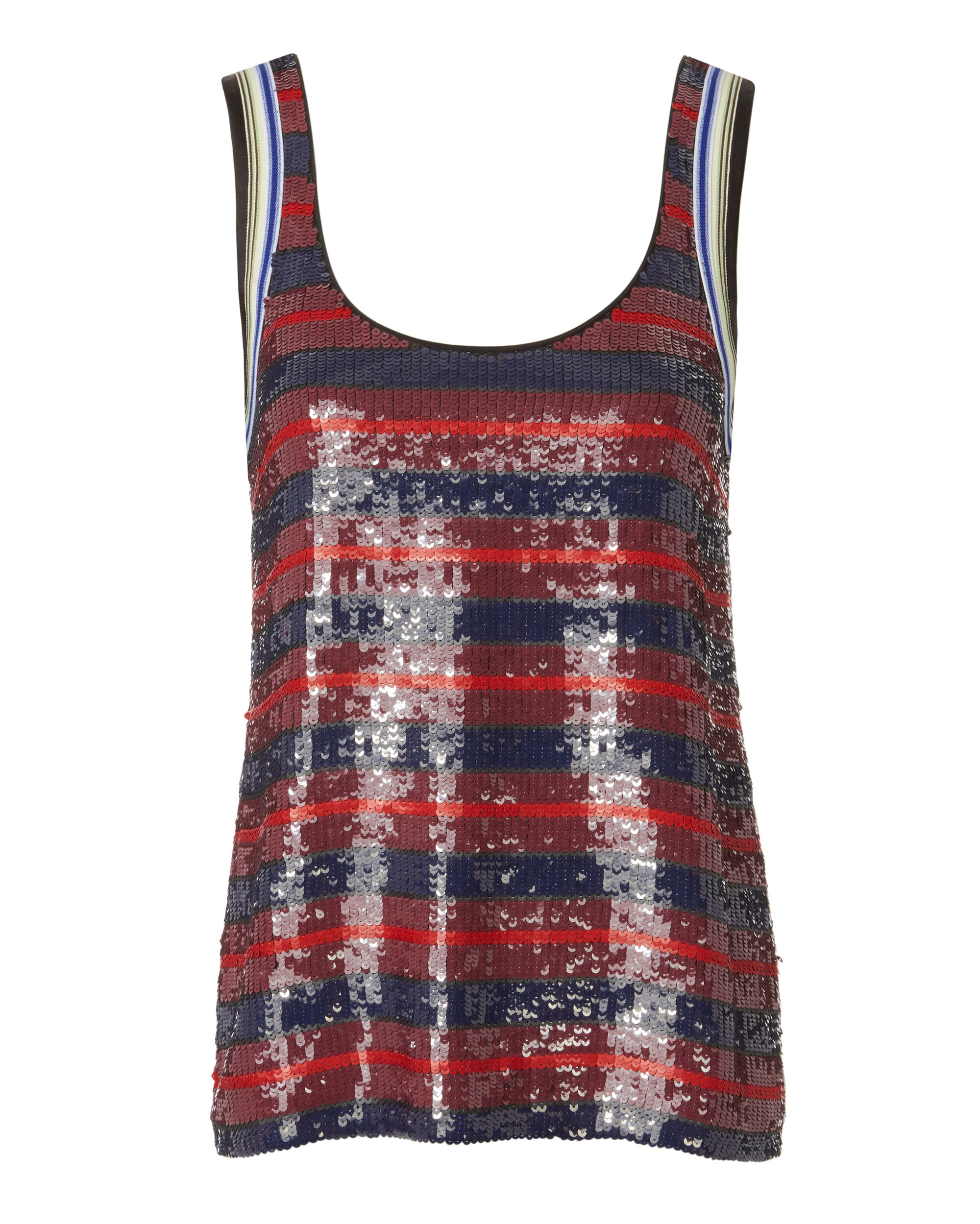 Red Striped Sequin Tank, RED, hi-res