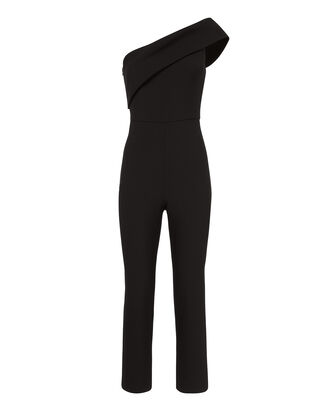 Seina One Shoulder Asymmetric Black Jumpsuit, BLACK, hi-res