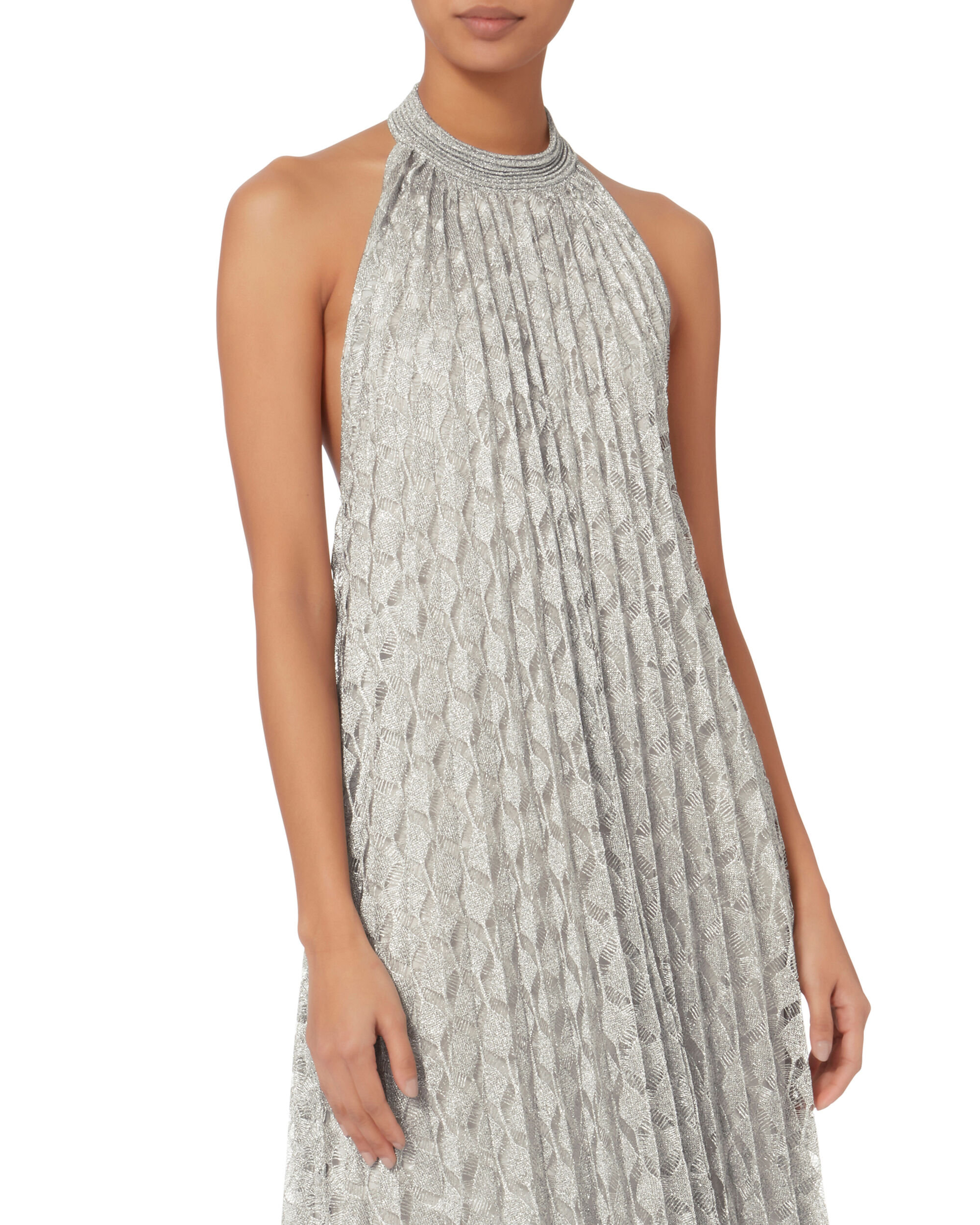 Silver Lurex Pleated Halter Dress, METALLIC, hi-res