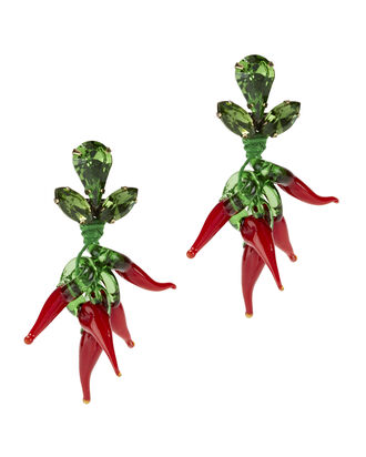 Chili Pepper Earrings, RED, hi-res