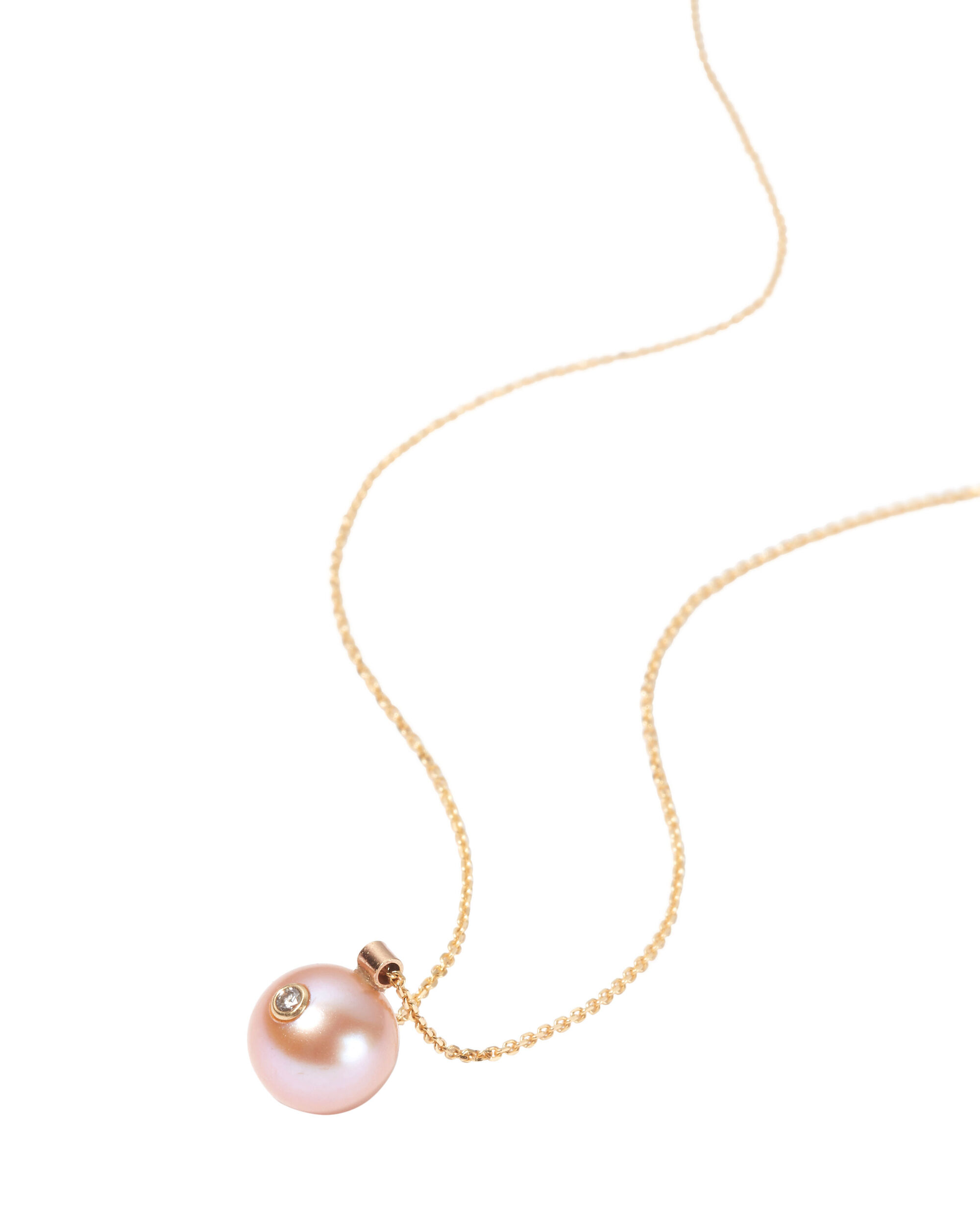 Diamond And Pink Pearl Necklace, GOLD, hi-res