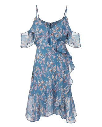 Marissa Blue Vine Ruffled Dress, MULTI, hi-res