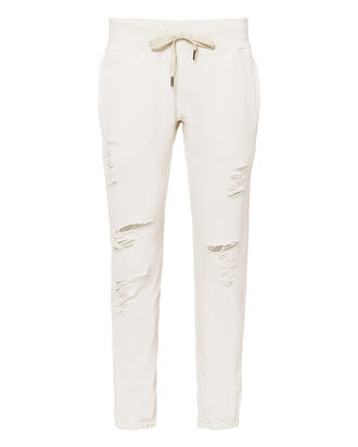 Sayde Destroyed Sweatpants, WHITE, hi-res