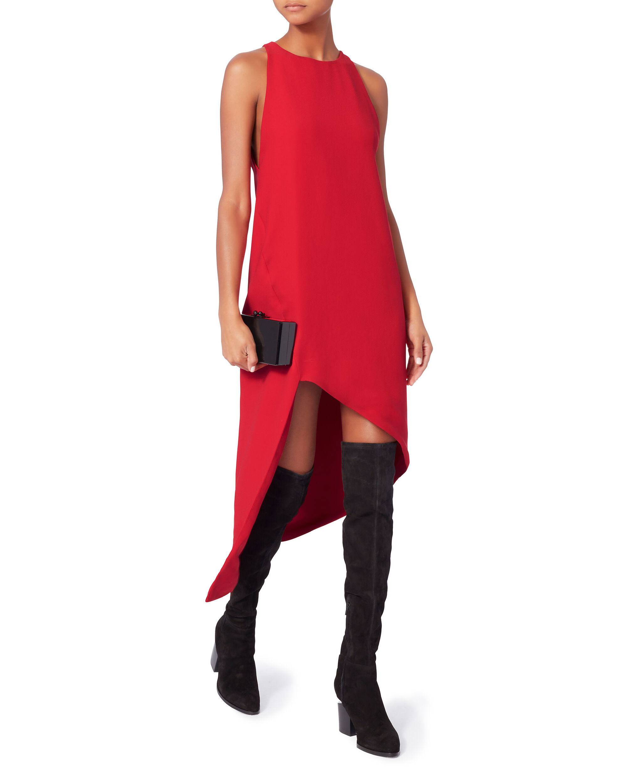 Hamlin Red Asymmetrical Dress, RED, hi-res