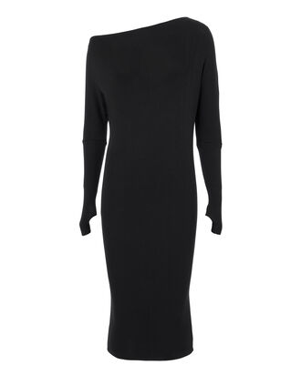 Off Shoulder Thumbhole Knit Dress, BLACK, hi-res