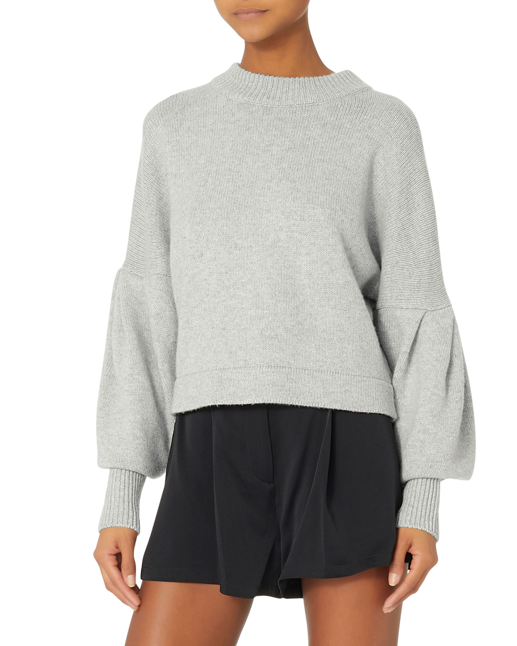 Pleated Sleeve Cropped Sweater, GREY, hi-res
