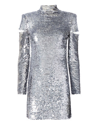 Cold Shoulder Disco Sequin Dress, METALLIC, hi-res