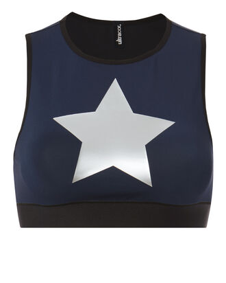 Level Silk Knockout Star Crop Top, NAVY, hi-res