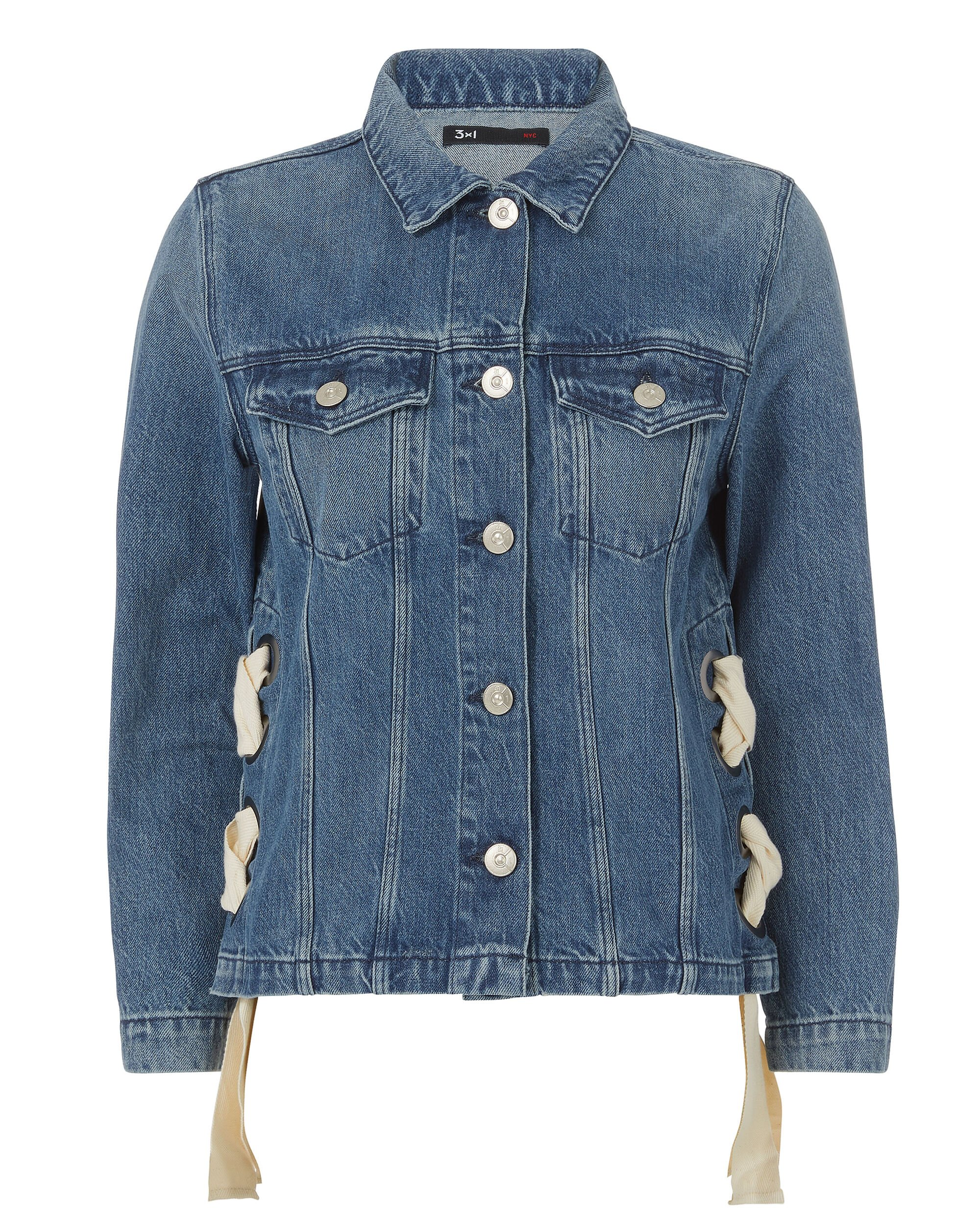 Denim Jacket with Lace-up Sides